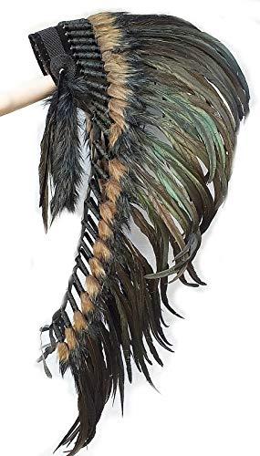 Hejoka-Shop Indianer Kopfschmuck Medium Federhaube 100 cm. Schwarze Federn Black Total schwarz-graues Fell Federschmuck Unikat handgefertigt Fasching Fotoshooting