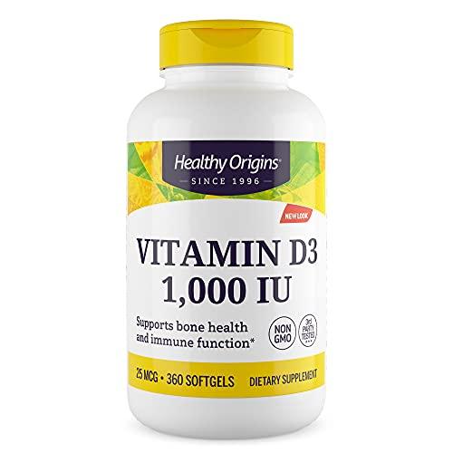 Healthy Origins, Vitamina D3, 1000 IU, 360 Softgels