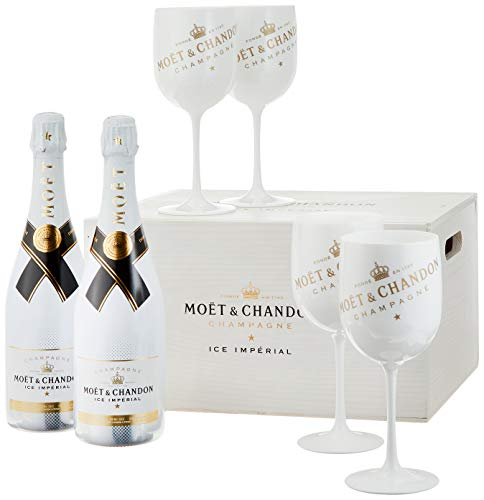 Moet & Chandon Ice Imperial Champagner in Holzkiste mit 4 Acryl-Gläsern (2 x 0.75 l)