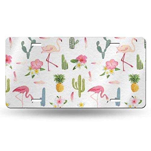 BRIGHT JUNAY Cool Metal License Plate, Cartoon Flamingo Cactus and Pineapple Car Front License Plate 6 Inch X 12 Inch