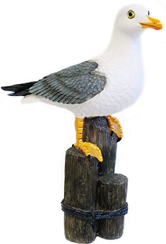 Pommerntraum  | Dekoration Gartendeko maritim Möwe Möve Vogel auf Poller - 33 cm XL