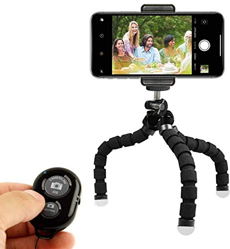 Phone Tripod, Portable and Adjustable Camera Stand Holder with Bluetooth Remote and Universal Clip for Any Smartphone, Cellphone, Phone, Android, Camera, GoPro (Black, 8')