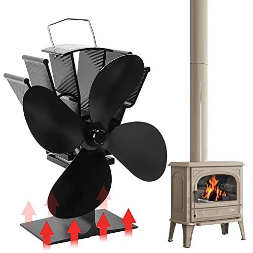 Orthland Kaminventilator mit 4 Blättern, 50℃ Schneller Selbststart, Ventilator Hitzebetrieben für Holz/Brennholz/Kamin, Start extrem leise zirkulierende warme Luft, die effizient Kraftstoff spart