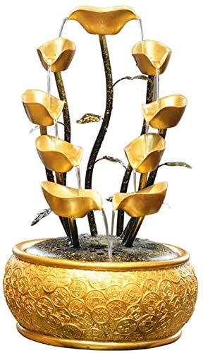 LULUDP-Decoración Feng Shui chino decoración Yuanbao árbol del dinero con agua corriente y pequeñas luces riqueza símbolo de la fortuna árbol decoración del hogar del hotel escritorio hermoso, L, tama