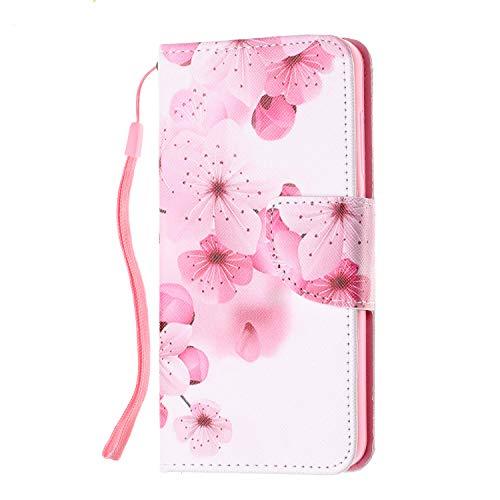XTstore Funda para Xiaomi Redmi 4A, Flor Roja Carcasa Piel Libro de Cuero con Correa de Mano Cubierta de Billetera Protector Suave Silicona Tapa con Ranuras de Tarjetas