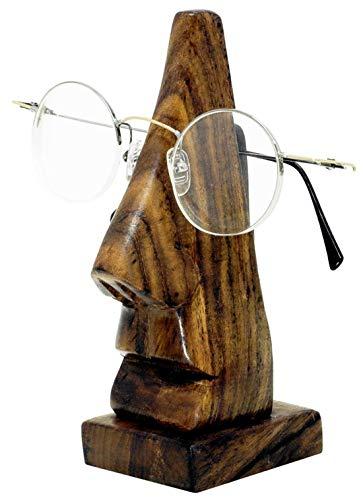 Imago Brillenhalter für Brille, Brillenständer, Deko handgemacht Geschnitzte Nase aus Sheesham Holz, Brillennase für Sonnenbrille oder Lesebrille