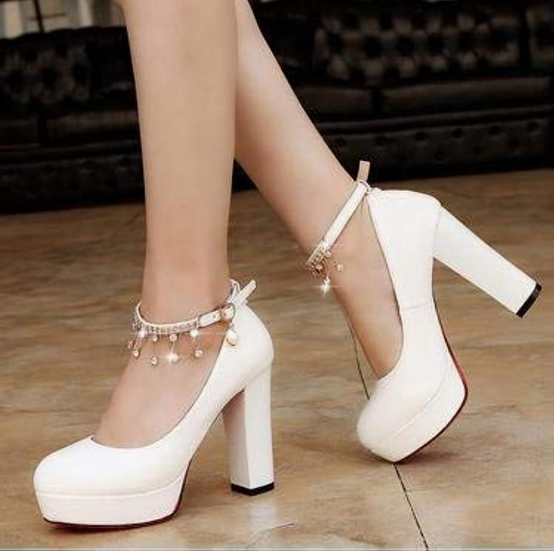 HOESCZS Frauen Schuhe Dick Mit High Heels Wilden Frühling Und Herbst Schuhe Casual Fashion Professional Schuhe Frauen Schuhe