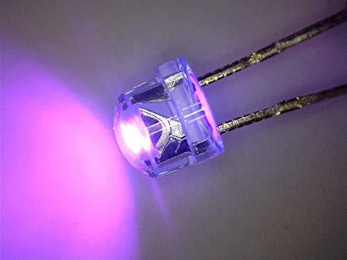 100 Stück LED 5mm Straw hat UV ultraviolett, Kurzkopf, Flachkopf 110° 390nm