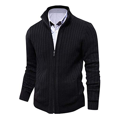 Mens Cardigan Sweater Slim Fit with Full Zip and Pockets (Black,Large)