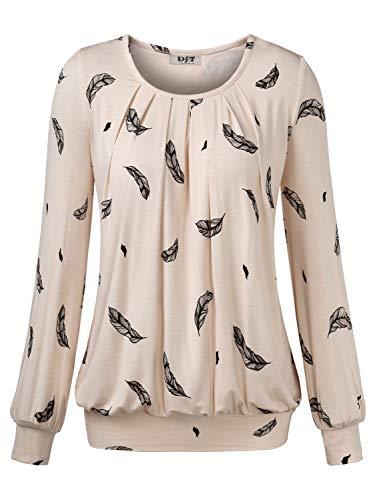 DJT Damen Langarmshirt Rundhals Falten T-Shirt Stretch Tunika Top Apricot-Federn X-Large
