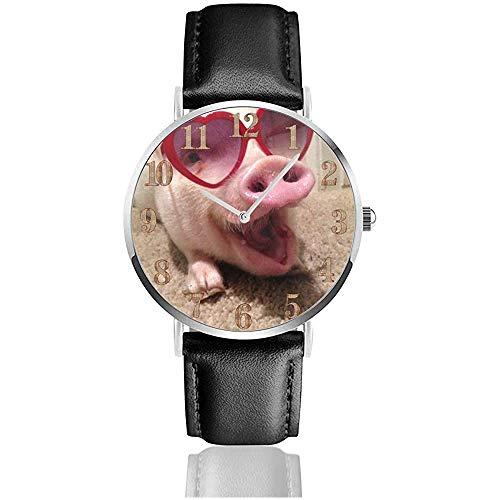 Pet Pig Heat Sonnenbrille Clo Uhren Robuste PU Leder Armbanduhr Life Silence Quartz Watch