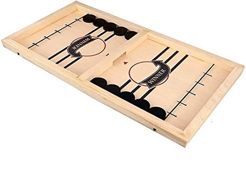 Awxy Stoßstange Puck Spiel Katapult Schach - Eltern-Kind Interaktives -Desktop Battle 2 In 1 Eishockeyspiel- Holztischspiele Für Kinder Family Party Casual Brettspiele (L: 56 * 30cm)