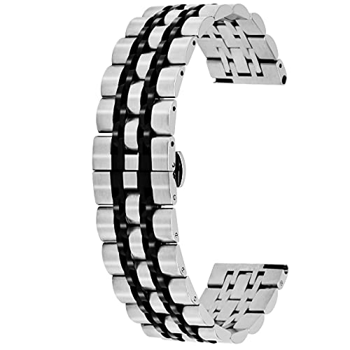 Kai Tian Cinturino per orologio da polso in acciaio inox, 20 mm, 22 mm, spazzolato, lucido, per uomini e donne, rapida pubblicazione e Acciaio inossidabile, colore: argento/nero, cod. KT7GMTCOL2022