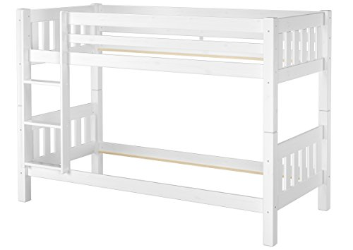Erst-Holz® Schönes Stockbett Kiefer Massivholz weiß 90x200cm Etagenbett Kinderzimmer 60.06-09WoR
