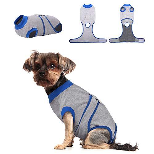 Kuoser Traje de recuperación de perro para hombre/mujer, camiseta para cachorros después de la cirugía, alternativa de cuello electrónico para mascotas pequeño, mediano y grande