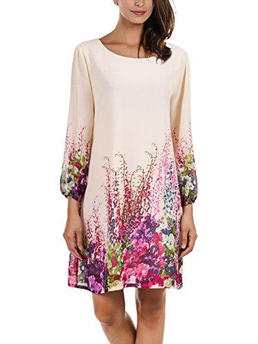 DJT Damen Blumen Muster Rundhals Casual Blusenkleid Kleider Apricot Small