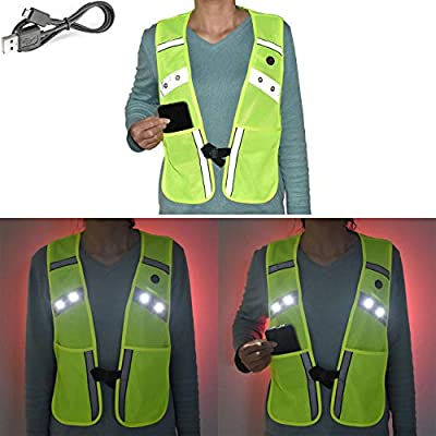 LED Reflective Vest for Running Walking Cycling USB Rechargeable Light Up Flashing Safety Warning Vest, Adjustable Waist & 2 Large Pocket Reflective Gear for Runners Cyclist Dog Walker Motorcyclist