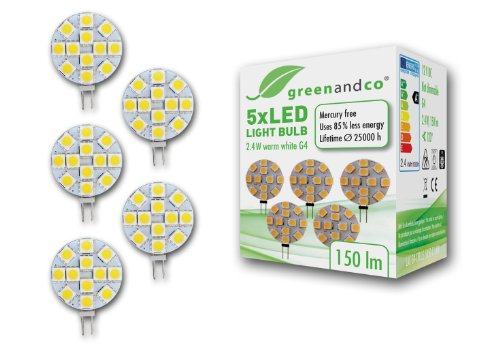 5 unidades lámparas LED greenandco® G4