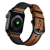 Mifa Compatible with Apple Watch Band 44mm 42mm Series 6 SE 5 4 3 vintage Bands Hybrid Sports Leather Dark Brown Replacement straps Sweatproof classic dress strap iwatch nike space black men women