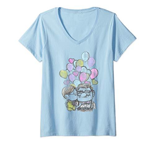 Mujer Disney Pixar Up Carl And Ellie Love Camiseta Cuello V