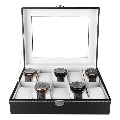 Femor Uhrenbox für 10 Uhren mit Glasfenster Watch Box Uhren Aufbewahrung aus PU Leder und Samt Schwar