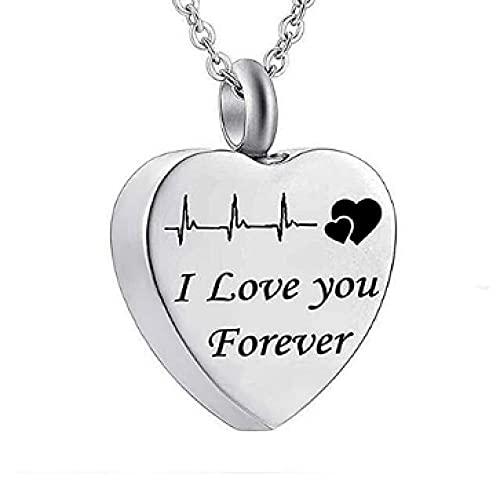 MITIAN Collar De Acero Inoxidable I Love You Forever N para Cenizas Cremación Memorial Recuerdo Colgante Collar Joyas con Kit De Relleno