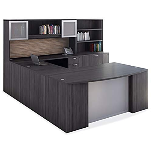 OfficeSource Bow Top Desk & Credenza Set, Coastal Gray Finish, 3 Drawer Deluxe Full Pedestal, 2 Open Hutches w/Optional Doors, 2 Drawer Lateral File