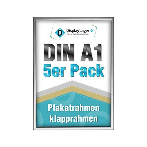 DisplayLager - 5 Klapprahmen DIN A1 | Plakatrahmen mit 25mm Silber alu Profil | inkl. entspiegelter Schutzscheibe und Befestigungsmaterial | Wechselrahmen/Posterrahmen/bilderrahmen mit klicksystem