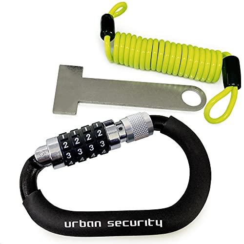 urban UR140 Candado Moto Kit Mosquetón con Código Seguridad Combinación Antirrobo Bloqueo...