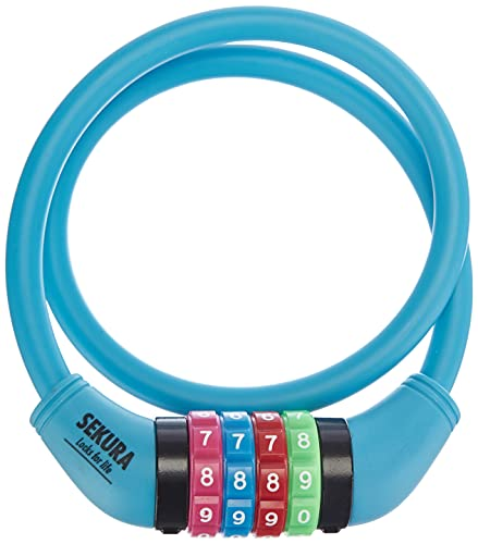 Büchel 60502209 Sekura - Candado de combinación numérica para niños (120 cm, con Revestimiento de Color, programable en 4 dígitos), Color Azul