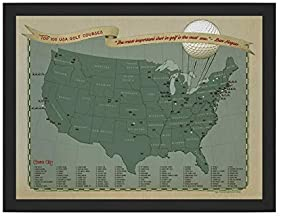 Golf Map of the USA with Push Pins   Prefect Golf Gift For Men & Women   Handmade in United States