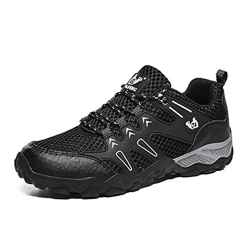 Aerlan Running Shoes with Air Padding,Calzado de Senderismo para Correr al Aire Libre, Zapatos de Hombre Zapatos Deportivos de Malla Transpirable-Negro_47,Zapatos Deportivos para Correr