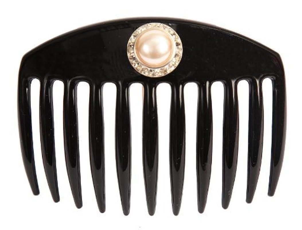 福祉登録バリアCaravan Hand Decorated French Comb with Large Pearl and Swarovski Stones In Silver Setting, Black.65 Ounce [並行輸入品]