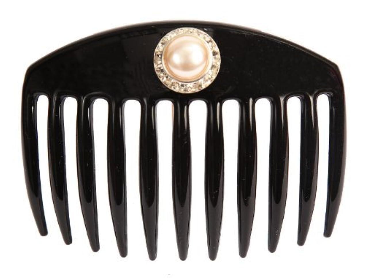 強化する強化する受け入れるCaravan Hand Decorated French Comb with Large Pearl and Swarovski Stones In Silver Setting, Black.65 Ounce [並行輸入品]