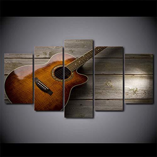 YXWLKG 5 leinwandbilder Modulare Bilder HD gedruckte Leinwand Wandkunst 5 Stück Klassische Gitarre Musik Malerei Home Decor Poster für Wohnzimmer Kein Rahmen