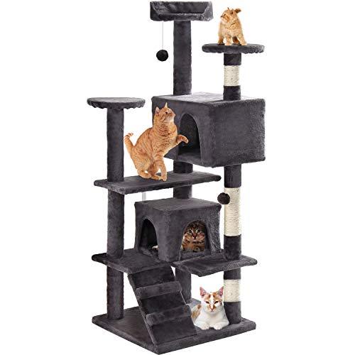 GRANDMA SHARK Árbol Rascador para Gatos, Casas de Juego y Lugares de Descanso para Gatos (Gris Oscuro)
