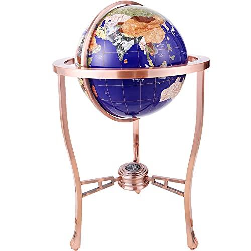 XIANGE100-SHOP World Globe 32/100cm Large 360 Degree Rotating Gemstone Globe Home Office Study Decoration Ornaments Metal Crafts Model (Color : 33CM)