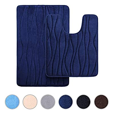 """Buganda Memory Foam 2 Pieces Bath Rugs Set - Soft Non-Slip Thick Bath Mat and Contour Toilet Rug, Absorbent Washable Bathroom Rugs and Mats Set (20"""" x 24"""" + 20"""" x 32"""", Navy Blue)"""