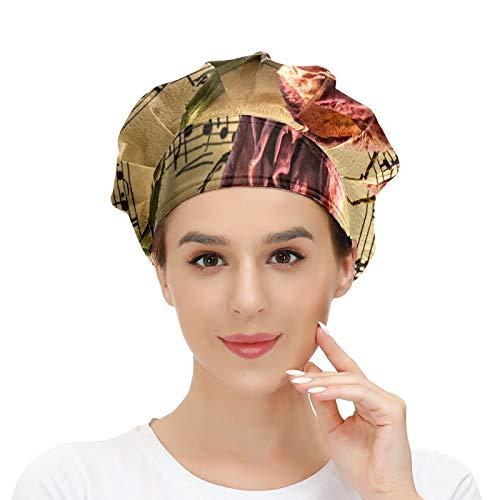 Gorra de trabajo para el pelo largo con banda elástica ajustable para el sudor, gorras de trabajo para hombres, bufanda de cabeza impresa en 3D, sombreros de partitura, manuscrito floral
