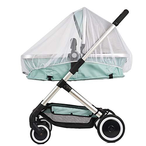 Mosquitera universal para carritos, cochecitos y camas de viaje, 2 unidades, con goma elástica, protección contra avispas y mosquitos (color blanco)