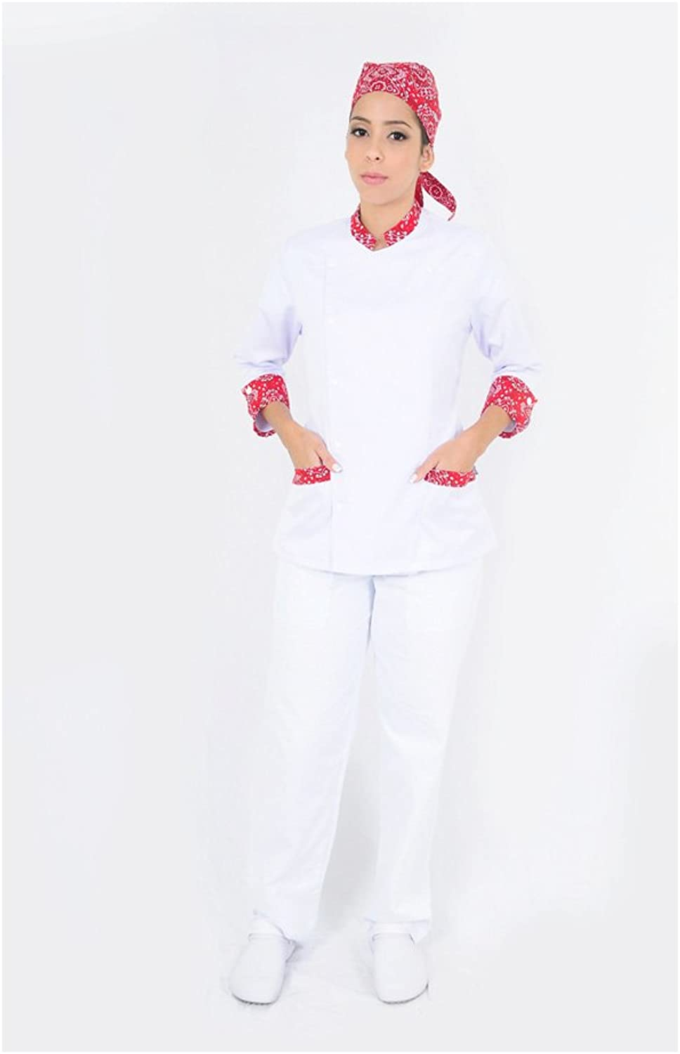 DAM Uniforms Women′s 3 4 Sleeves with Details Chef Coat