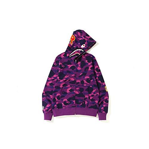 Best Shark Head Classic Hood Camouflage Felpa Moda Maglione Street Hot Jacket Viola Colore XXL
