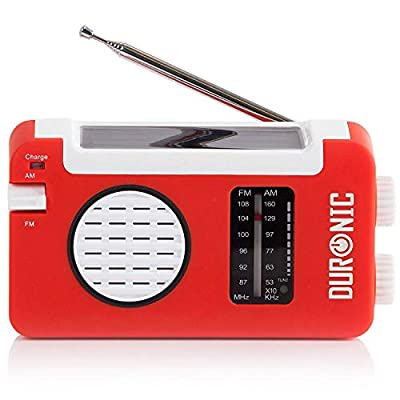 Duronic AM/FM Radio HYBRID | Charge 3 Ways: Solar Power, Wind Up, USB | Dynamo Crank Charging | Headphone Jack 3.5mm | Portable | For Emergency Use | Perfect for Camping, Hiking, Fishing, Outdoors by Duronic
