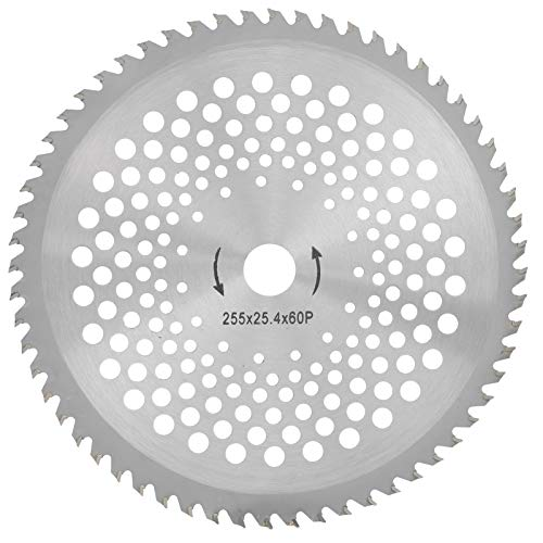 Hoja de sierra circular de 60 dientes, disco de rueda, acero de alta velocidad para podadoras de jardín, desbrozadoras, desbrozadoras, plata 255x25,4x60T 255mm / 10in