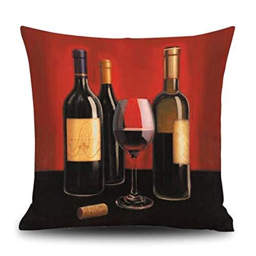 ArthuereBack Rode wijn merlot flessen en wijnglas zwart rood schilderij stijl vierkante linnen kussensloop