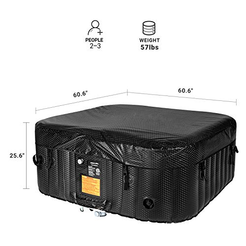 AquaSpa Portable Hot Tub 61X61X26 Inch Air Jet Spa 2-3 Person Inflatable Square Outdoor Heated Hot Tub Spa with 120 Bubble Jets, Black/White, one Size (AQA_SPA-A154_Black/White)