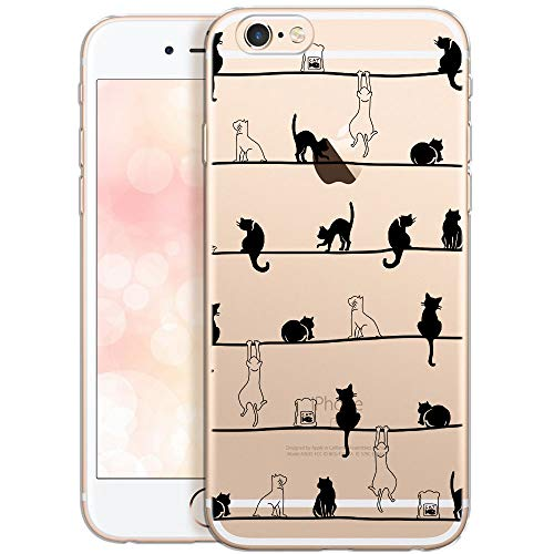 QULT Carcasa para Móvil Compatible con iPhone 6 Plus, iPhone 6S Plus Funda Dibujos Animados Silicona Transparente Suave Bumper Teléfono Caso para iPhone 6 Plus, 6S Plus Primavera de Gatos