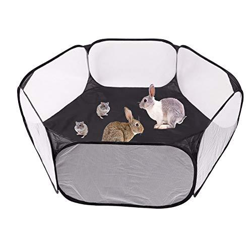 Tragbare kleine Tier Hamster Spiel Zaun Kaninchen laufen Innen- und Außen Meerschweinchen laufen Käfig Zelt Sportzelt offene Haustiere spielen Stift Hamster, Kaninchen, Chinchilla, Igel (schwarz)