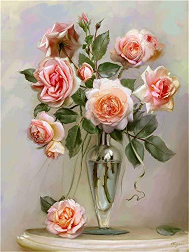Flor de mosaico de diamantes kit completo de arte de flores 5d pintura de diamantes rosa rhinestone hobby y artesanía pintura de diamantes A4 40x50cm
