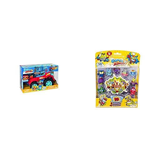 SuperZings - PlaySet Héroe Truck (PSZSP112IN20) con Vehículo y 2 Figuras Especiales + Serie 4 - Blíster con 10 Figuras (PSZ4B016IN00), 9 Figuras y 1 Figura Dorada Super Rare